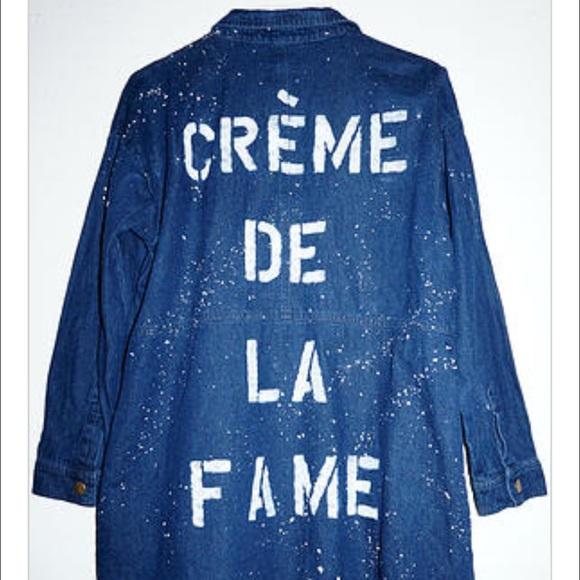CREME DE LA FAME Jackets & Coats - CDLF DISTRESSED DENIM SHIRT DRESS