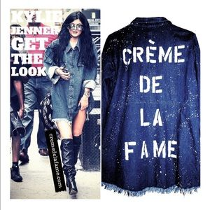 CREME DE LA FAME Jackets & Coats - CDLF DISTRESSED DENIM SHIRT DRESS