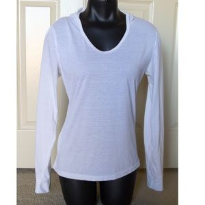White Hooded Round Scoop Neck Longsleeve Athletic