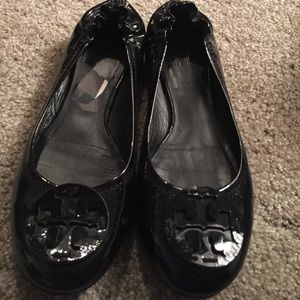 Tory Burch Reva Flats- Black Patent Leather Size 8