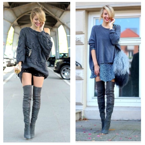 Gray Over The Knee Boots - Yu Boots