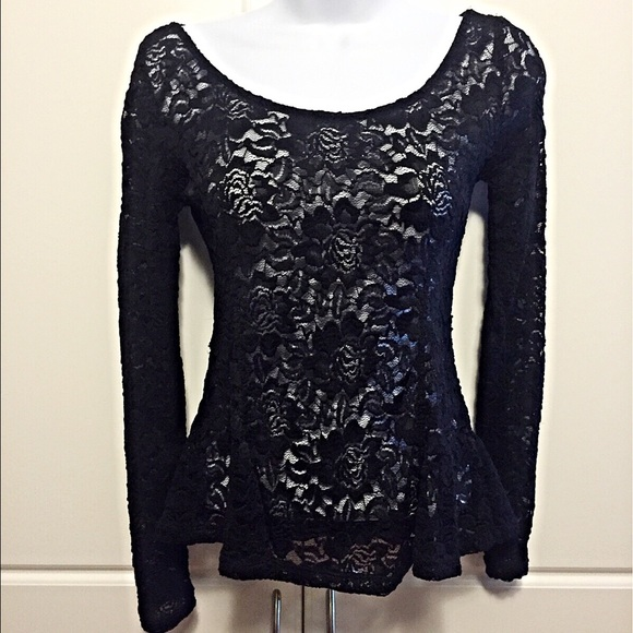 12f9ae41ce6056 Divided Tops | Hm Long Sleeve Black Lace Top | Poshmark