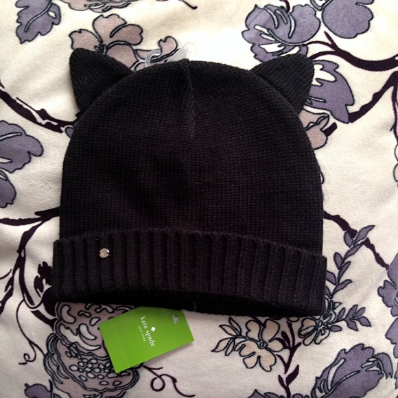 2f8348cd0f7bf 🆕Kate Spade Novelty Cat Ears Beanie Hat Black