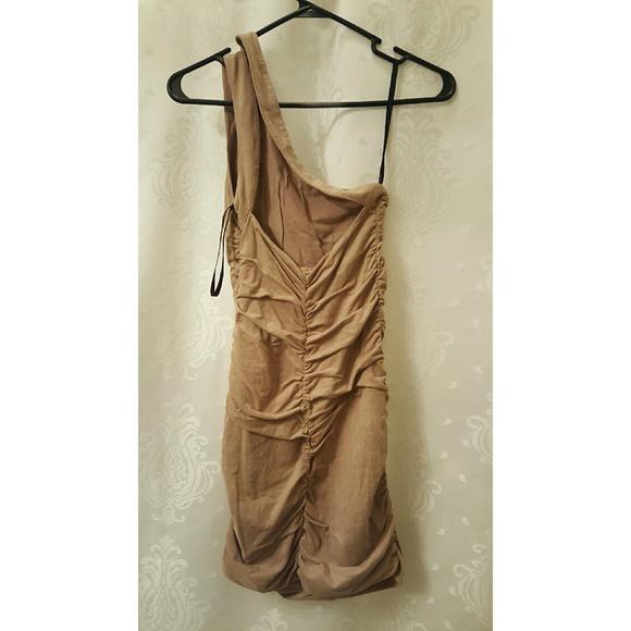 763af7a0c13 bebe Dresses   Suede Beige One Shoulder Dress From   Poshmark