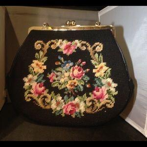 Vintage Floral embroidered tapestry bag Large