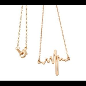 Jewelry - Gold Plated Heart Beat Heart line ekg Necklace