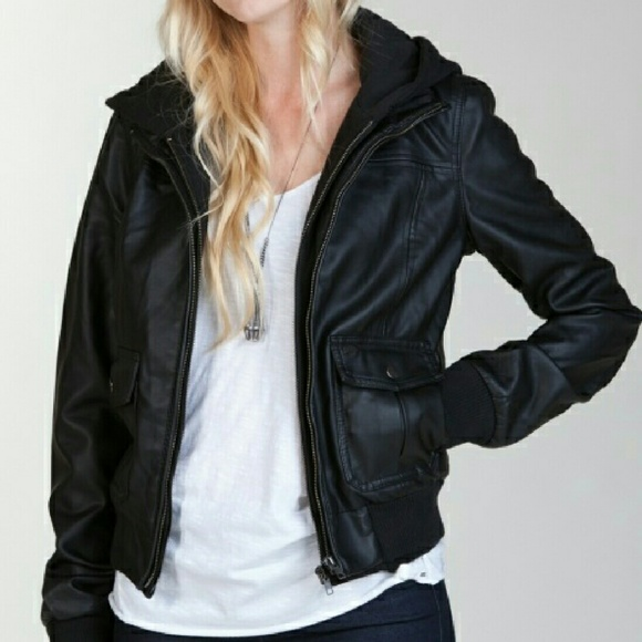 4f54e1f38 Obey hooded leather jacket