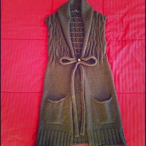 Liu jo Sweaters - Brown sleeveless knitted cardigan made in Italy