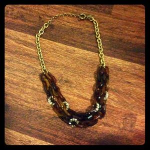 J.Crew Tortoise Resin & Crystal Necklace