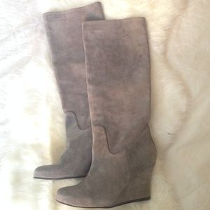 Lanvin gray tall wedge boots - brand new