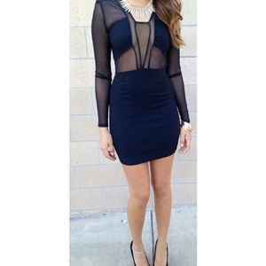❤️RESERVED❤️ Black Mesh Long Sleeved Bodycon Dress
