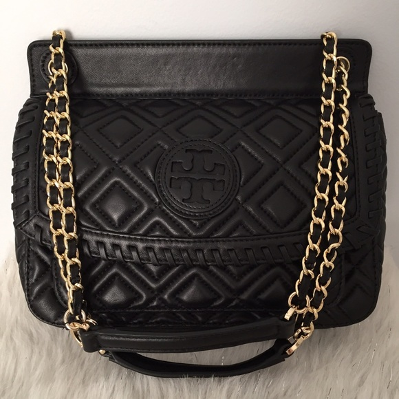 Tory Burch - Tory Burch Black Marion Quilted Saddle Bag from ... : marion quilted crossbody - Adamdwight.com