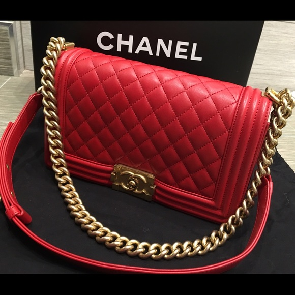 ff4ad1812c28f6 CHANEL Bags | Medium Boy Red With Gold Hardware Fall 2015 | Poshmark
