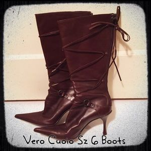 Shoes - Vera Cuoio Italian Made Brown Leather Boots Size 6
