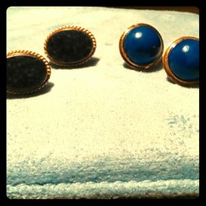Jewelry - Two pair of gold & Lapis earrings
