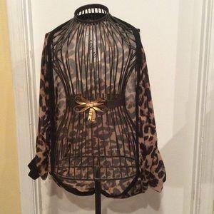 Leopard print chiffon cardigan