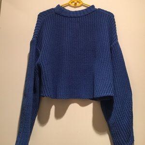 HORASORA Sweaters - HORASORA CROP OVERSIZED SWEATER