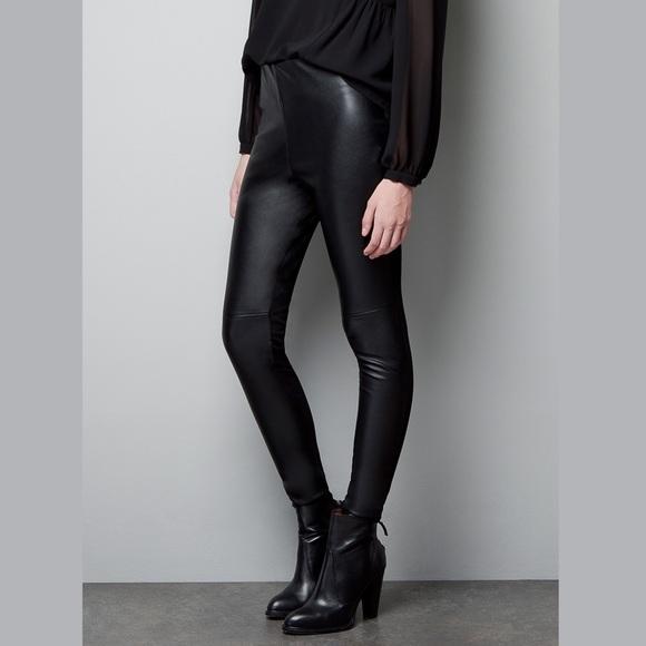 48636d53c63e2 new   Zara Seamed Faux Leather & Knit Leggings XS NWT