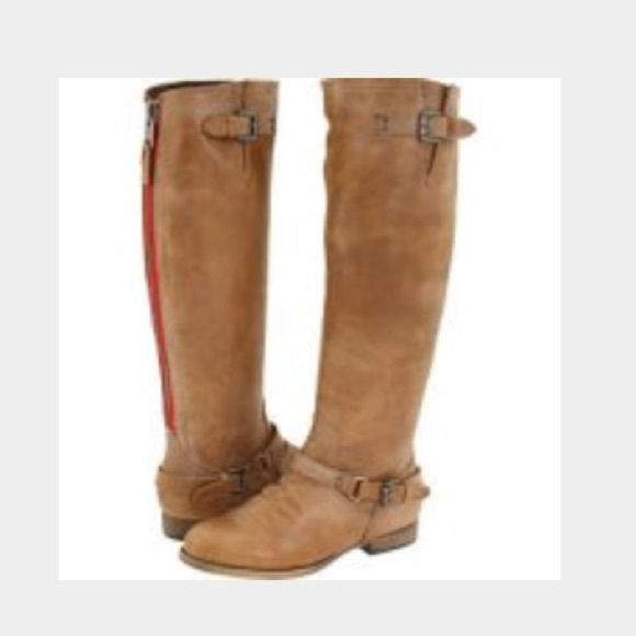 b579a970b77 Steve Madden Tan Leather Tall Boot Red Zipper