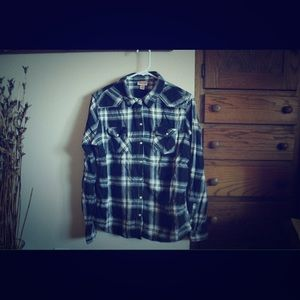 Mossimo Supply Co. Tops - Black and White plaid Flannel Shirt