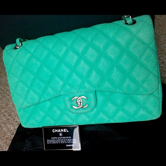 301c26f35975 CHANEL Bags | Double Flap Jumbo Sude Caviar Green | Poshmark