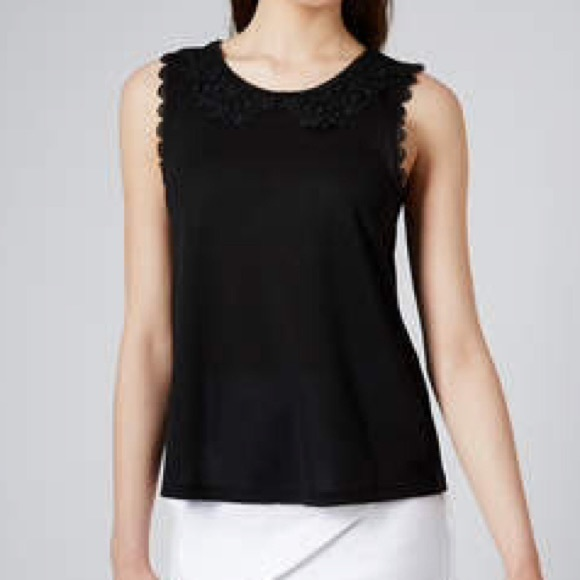 bb45af03bb741e TOPSHOP Black Lace Collar Sleeveless Top