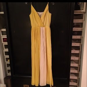"Joie ""vintage yellow"" & white silk maxi dress XS"