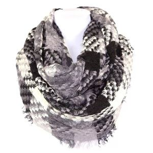 B87 Plaid Black Gray Soft Infinity Scarf