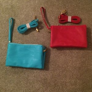 Two Clutch Purses with Shoulder Straps