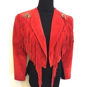 Vintage Red Suede Fringe Bolero Jacket