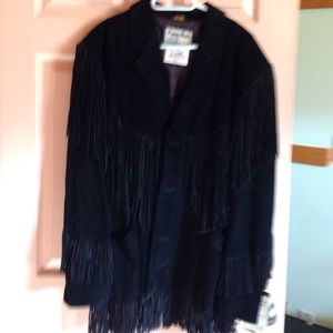 NWT black suede leather jacket