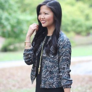 Fall Floral Print Bomber Jacket
