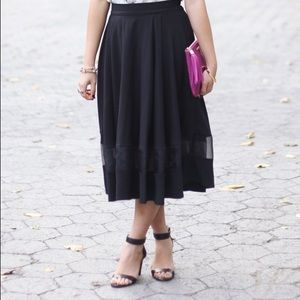Chicwish Skirts - Price Drop‼️ Black Midi Skirt with Mesh Stripe