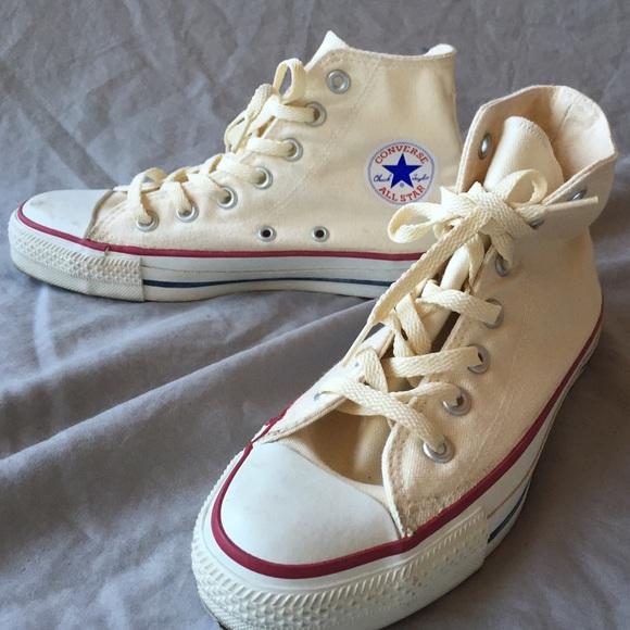 8e32b17d91ab7e Converse Shoes - Cream Converse All Stars High Tops Vintage Size 6
