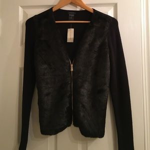 Ann Taylor fur sweater jacket combo NWT 😍😍