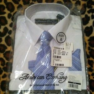 American Exchange Other - Boys Tailored Shirt & Tie Set