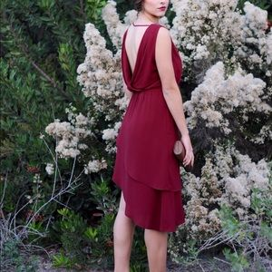 Wine drape dress