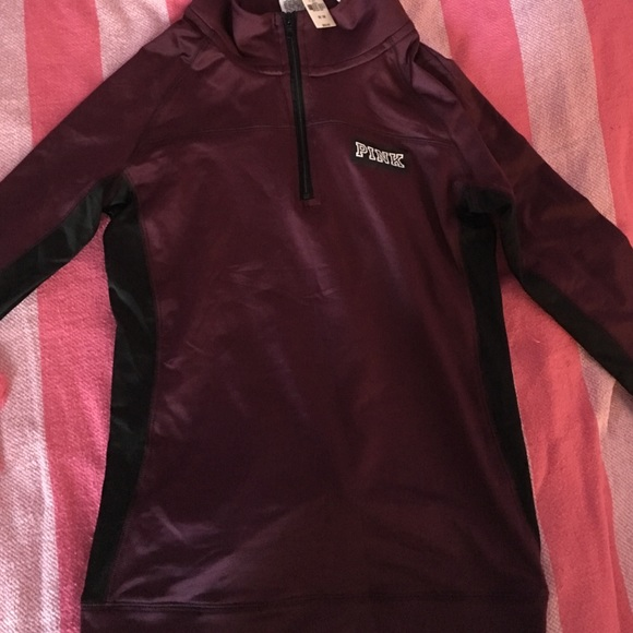 78d3e43238675 PINK Ultimate Half Zip in Burgundy NWT!!! NWT