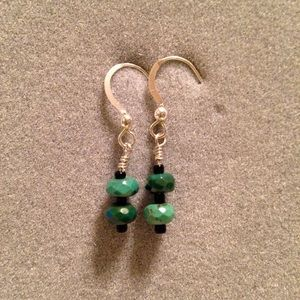 Jewelry - Tiny Sterling silver & faceted turquoise earrings