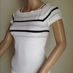 White with gray and Black Stripes. One Size.