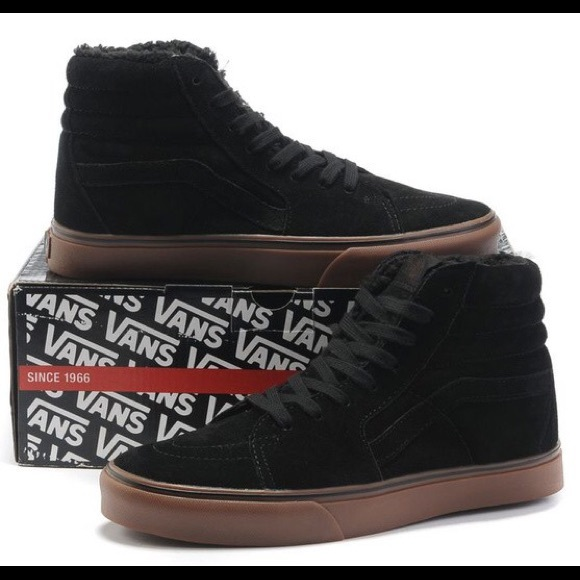2b8d5bc497 BRAND NEW Black suede w  fleece inside Vans Sk8-Hi.  M 566323fb15c8afab91007abf