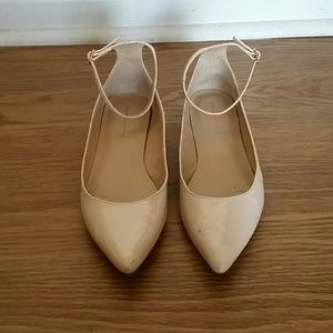 Zara patent leather pointy nude flats