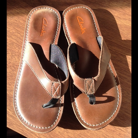 Clarks Womens 8 M Roxanna Brown Leather Flip Flops Sandals euc