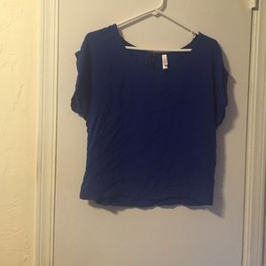 Xhilaration Cropped Bright Blue Top