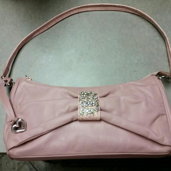 Brighton pink evening bag with enamel flowers
