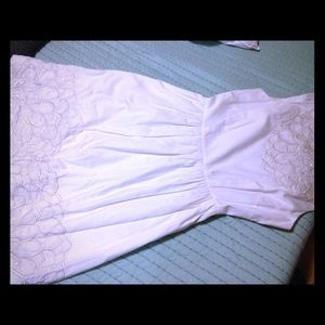 Lilly Pulitzer white dress GOLD thread