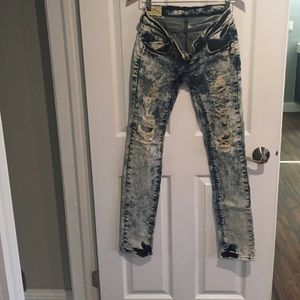 Extremely distressed denim