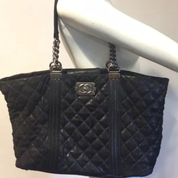 1bdc8ed9d485 CHANEL Bags | Sold Le Boy Gentle Tote Black Textured | Poshmark