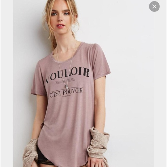 40% off Forever 21 Tops - NWT HI-Lo hem 💕graphic tee in nude ...