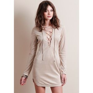 SALE❗️Beige Lace Up Faux Suede Long Sleeve Dress